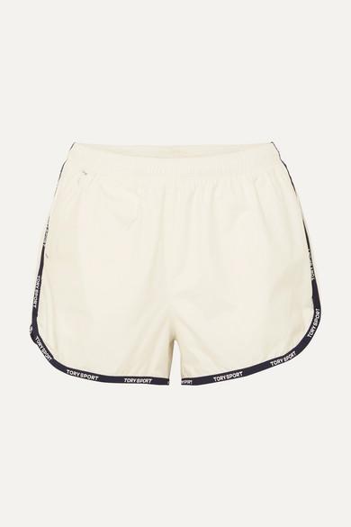 Tory Sport Shorts Banner striped shell shorts