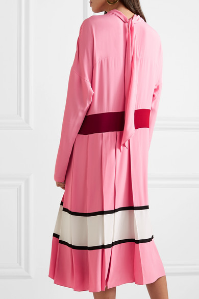 Marni Pleated Color Block Crepe Midi Dress Net A