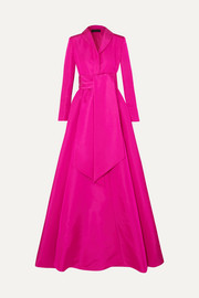 Brandon Maxwell Belted silk-faille gown