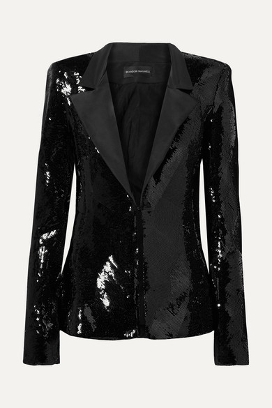 Single-Breasted Sequin Jacket W/ Faille Collar in Black
