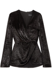 Brandon Maxwell Metallic fil coupé velvet wrap blouse