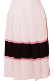 Pleated striped crepe de chine skirt