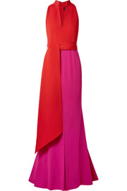 Brandon Maxwell Color-block crepe gown
