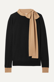 Tie-neck two-tone wool sweater