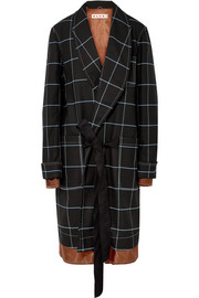 Satin-trimmed checked twill coat