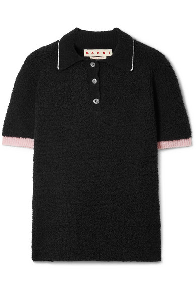 Wool-Blend Bouclé Polo Shirt in Black
