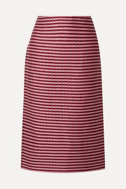Checked woven midi skirt
