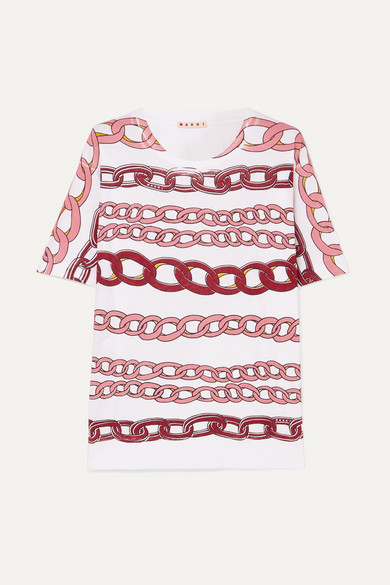 MARNI | Marni - Printed Cotton-jersey T-shirt - Pink | Goxip