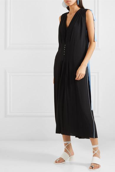 Marni Dress Bow-embellished two-tone crepe de chine dress