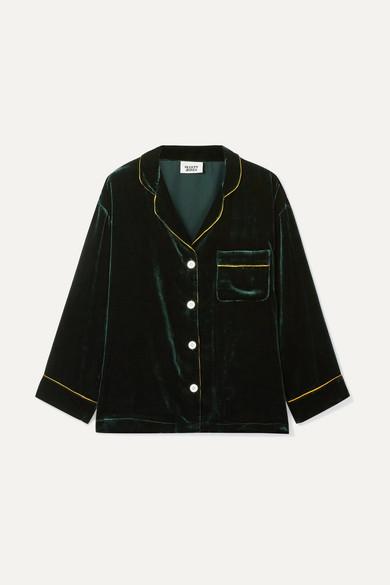 SLEEPY JONES | Sleepy Jones - Marina Grosgrain-trimmed Velvet Pajama Shirt - Emerald | Goxip