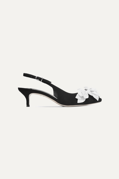 Jumbo Lilico Leather-Appliquéd Suede Slingback Pumps in Black