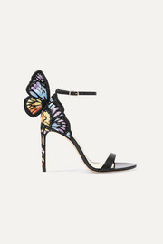 Chiara embroidered satin and leather sandals