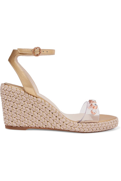 Dina Embellished Pvc And Metallic Leather Espadrille Wedge Sandals in Gold