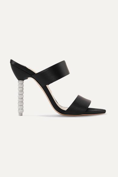 SOPHIA WEBSTER Rosalind Crystal-Embellished Satin Mules in Black