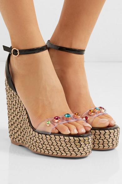 f6d9c85394a0 Sophia Webster. Dina embellished vinyl and patent-leather espadrille wedge  sandals