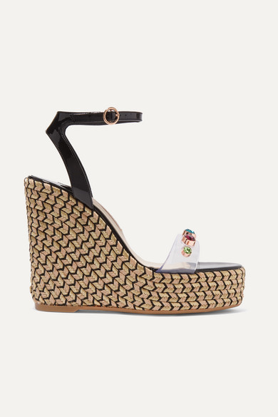 Dina Embellished Pvc And Patent-Leather Espadrille Wedge Sandals in Black