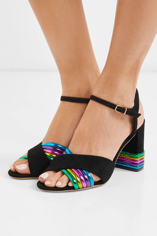 Sophia Webster Joy metallic leather and suede sandals