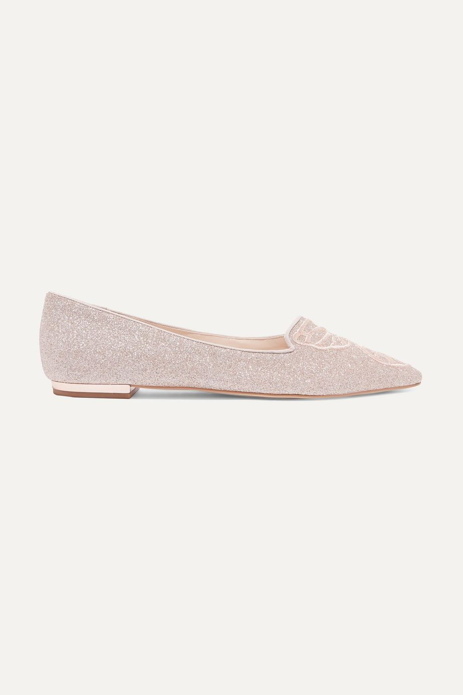 Sophia Webster Butterfly embroidered glittered leather point-toe flats