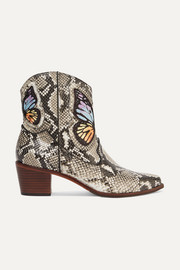 Shelby embroidered snake-effect leather ankle boots