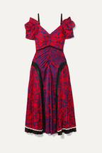 e091f156bc52 Self-Portrait Cold-shoulder floral-print satin midi dress