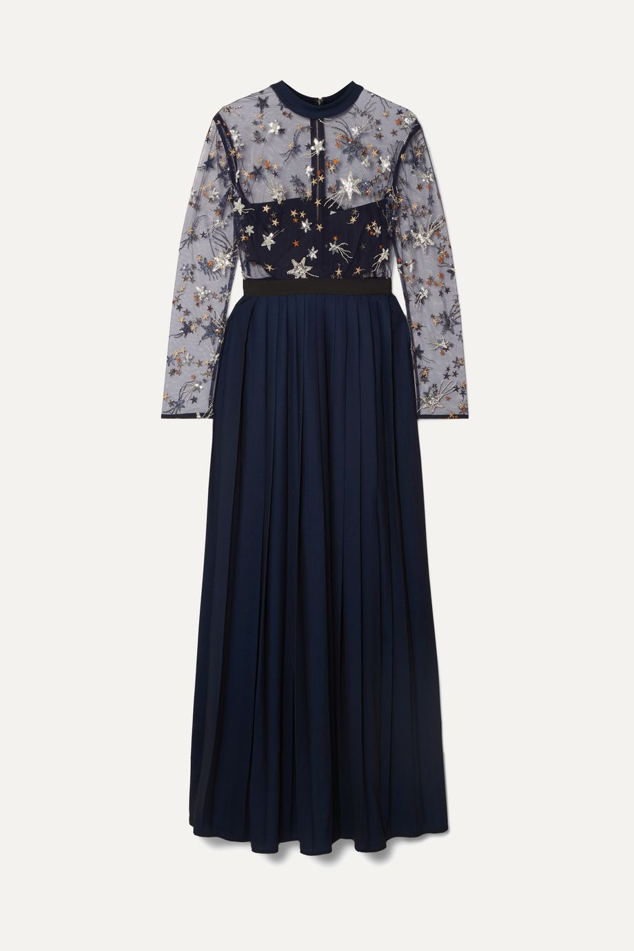 Self-Portrait Embellished tulle and pleated crepe de chine maxi dress