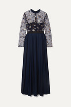 066ec6488c06 Self-Portrait Embellished tulle and pleated crepe de chine maxi dress