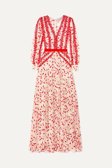 7cb633411f074 Self-Portrait Crescent Guipure Lace-Trimmed Pleated Printed Chiffon Maxi  Dress In Cream/