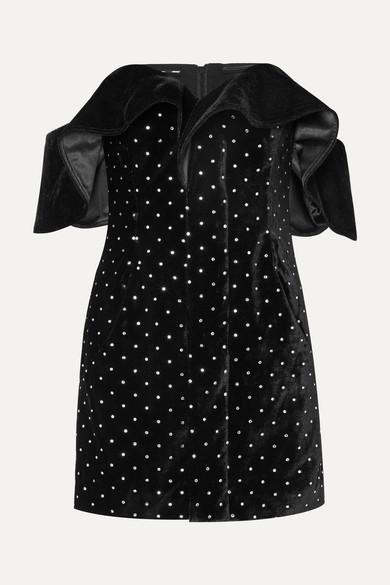 Off-The-Shoulder Embellished Velvet Mini Dress in Black