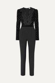 Self-Portrait Guipure lace-trimmed embellished velvet and crepe jumpsuit