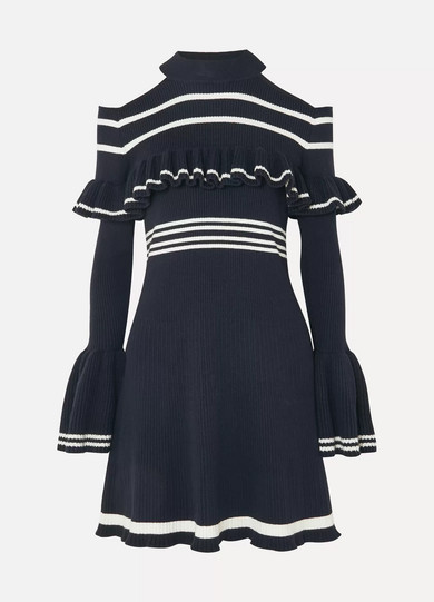 Cold-Shoulder Ruffled Striped Ribbed-Knit Mini Dress in Navy