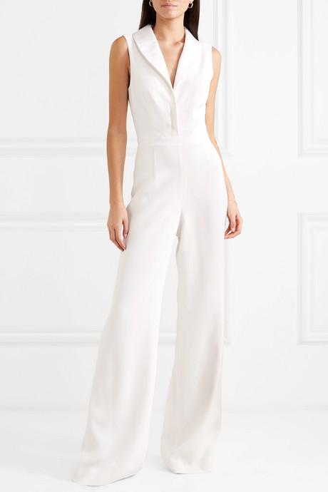 Faille-trimmed silk crepe de chine jumpsuit