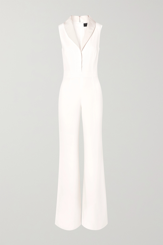Brandon Maxwell Faille-trimmed silk crepe de chine jumpsuit
