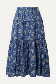 Auveline floral-print cotton and silk-blend midi skirt