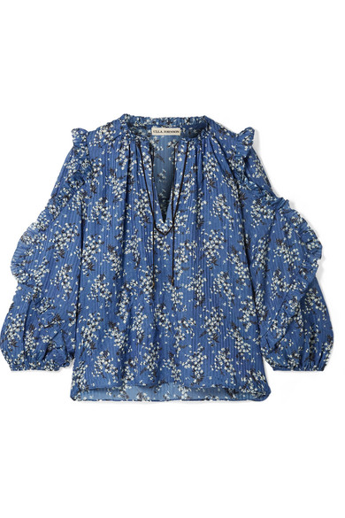 Manet Floral-Print Cotton And Silk-Blend Blouse in Blue