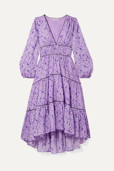 Joan Tiered Floral-Print Cotton And Silk-Blend Midi Dress in Lilac