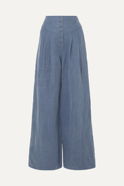 Ulla Johnson Reid chambray wide-leg pants