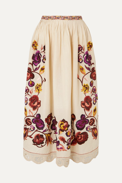 Yana Embroidered Linen And Cotton-Blend Midi Skirt in White