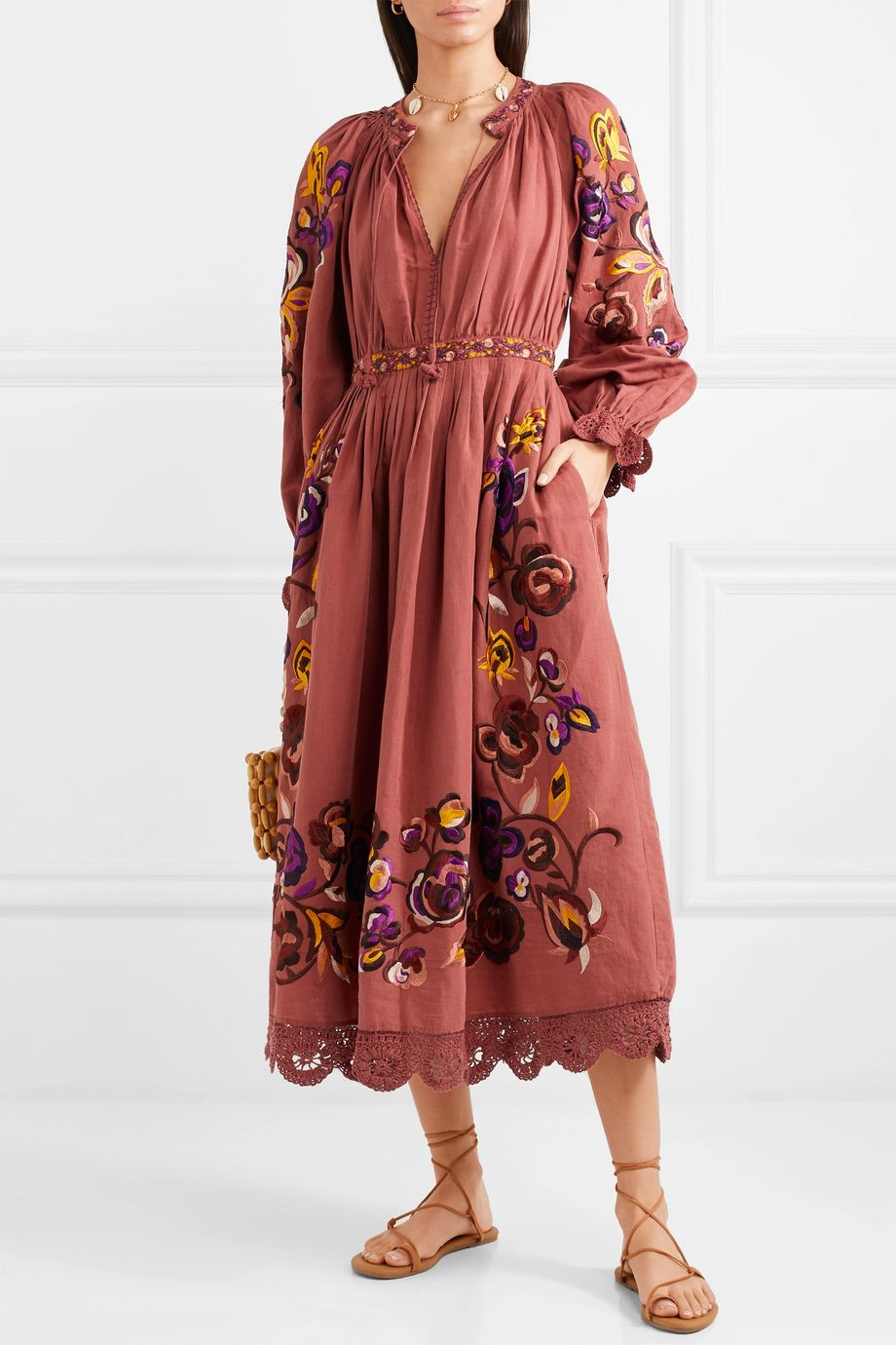 Ulla Johnson Miro embroidered linen and cotton-blend midi dress