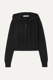 Cropped ribbed stretch-knit hoodie