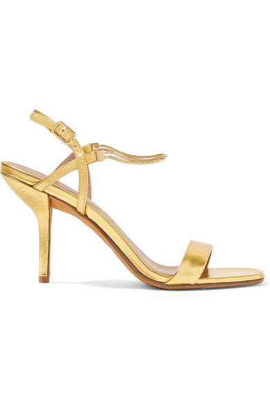 Frankie Embellished Metallic Leather Sandals in Gold