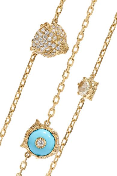 e1758e93d Gucci. Le Marché des Merveilles 18-karat gold, diamond and turquoise  necklace. $35,800. Zoom In