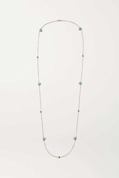 5645f6157 Gucci | Le Marché des Merveilles 18-karat gold, diamond and turquoise  necklace | NET-A-PORTER.COM