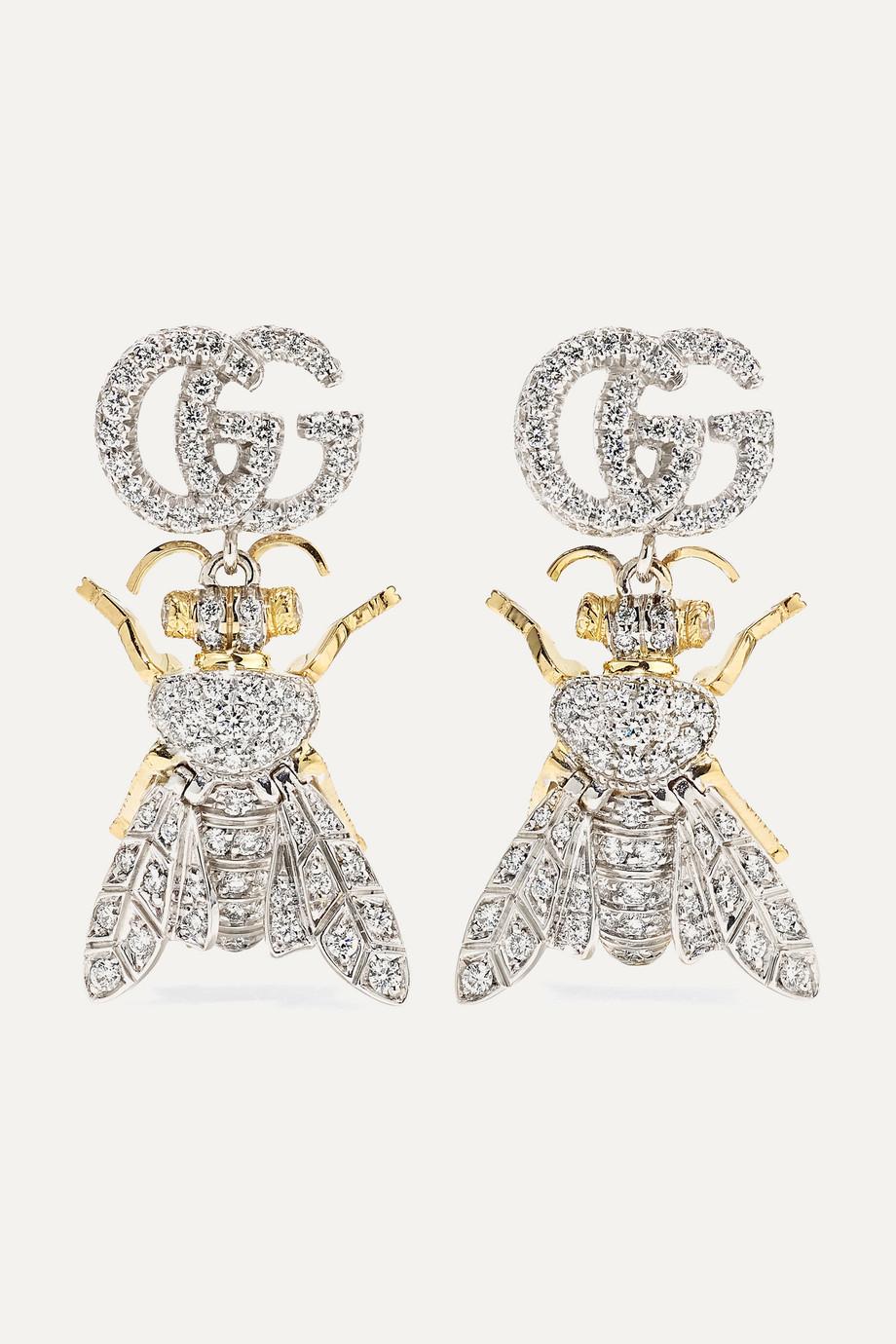 Gucci Le Marché des Merveilles 18K 黄金、18K 白金、钻石耳环
