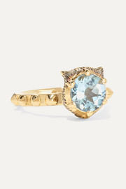 Le Marché des Merveilles 18-karat gold, aquamarine and diamond ring