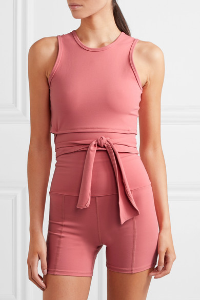 6a8176602c147 Live The Process | Ballet cropped tie-front stretch-Supplex top ...