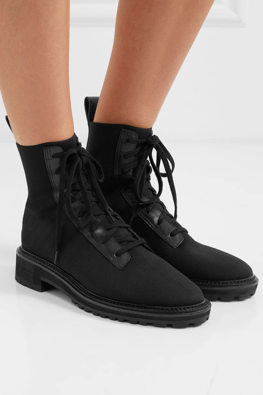 Loeffler Randall Brady leather-paneled stretch-knit ankle boots