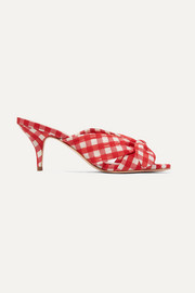 Luisa knotted gingham canvas mules