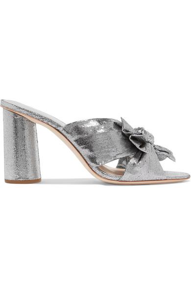 Penny Knot Strap Slide Sandals Silver