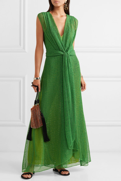 Missoni Dresses Twist-front metallic open-knit maxi dress