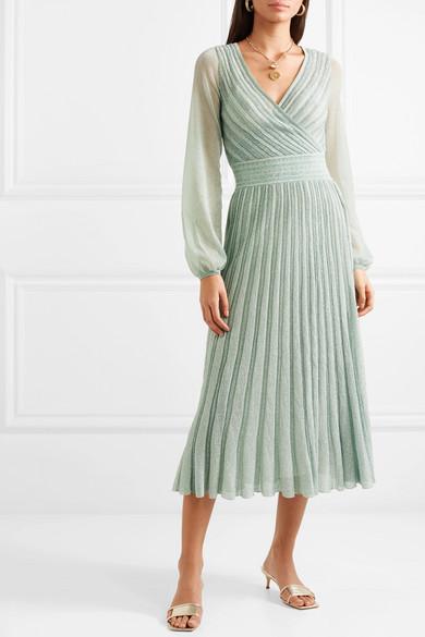 Metallic Lurex midi dress – blue